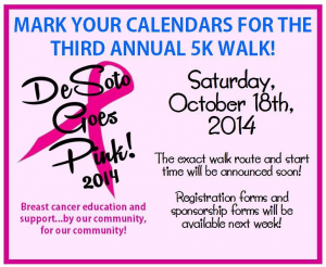 DeSoto Goes Pink Save the Date Flyer